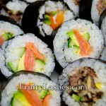Smoked Salmon Roll and Beef Mushroom Roll Sushi