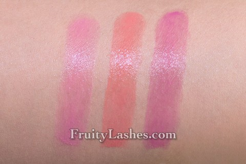 bareMinerals Remix Loud & Clear Lip Sheer Amped Pink Tangerine Trance Berry Remix Swatch