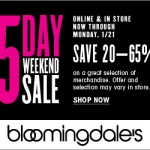 bloomingdales 5 day weekend sale jan