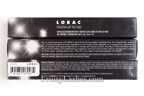 Lorac Touch-Up To Go Box Info Ingredients