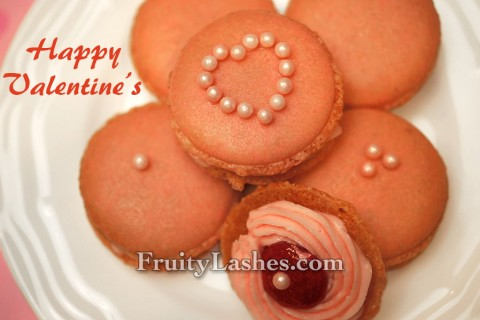 Rose Macaron with Rose Buttercream Strawberry Jam Bull's Eye Filling