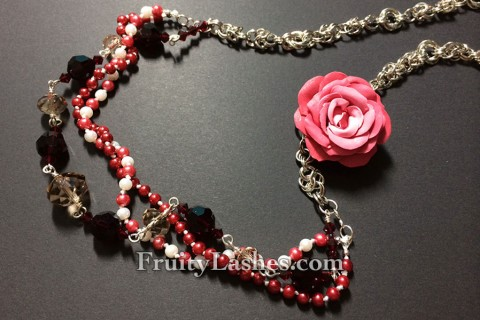 Multi-strand Crystal Pearl Clay Rose Necklace